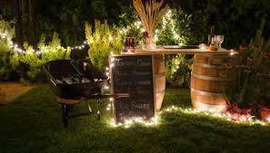 strands of outdoor lights add ambiance and enough light to guide your guests