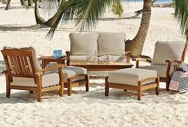 7 piece teak wood outdoor patio seating set