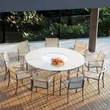 royal botania white o zon circular garden dining table with lazy susan ozn55 stainless