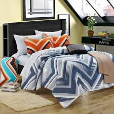 twin xl full bed bag blue orange chevron zig zag 9 pc comforter sheets dorm set
