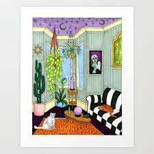witchy living room art print by ben