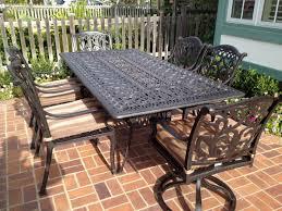 outdoor rectangular dining table. Mandalay Cast Aluminum Powder Coated 7pc Outdoor Patio Dining Rectangular Table