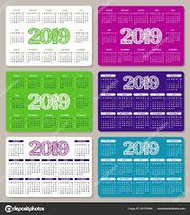 Basic Calendars Set Colorful Calendars 2019 Week Starts Sunday Basic Grid Flat