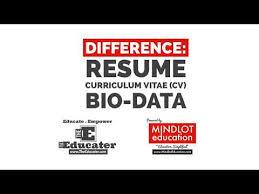 Difference Between Resume Curriculum Vitae Cv Bio Data