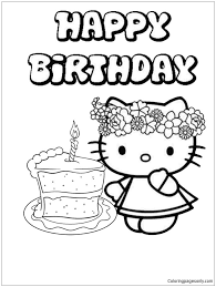 Hello kitty coloring pages for kids. Hello Kitty Birthday Cake 1 Coloring Pages Cartoons Coloring Pages Free Printable Coloring Pages Online