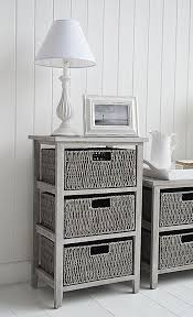 St Ives grey storage table with 3 baskets for living room furniture for grey  and white