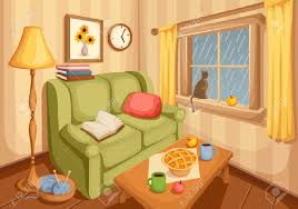Orange And Yellow Living Room Vector Illustration Of Cozy Autumn Living Room With Rain Outside
