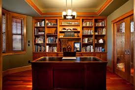 home office bookshelves. Stained Wood Trim Home Office Craftsman With Green Ceiling Traditional Standard Bookcases Bookshelves