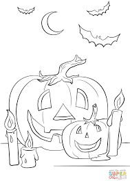Small Picture Halloween Scene with Pumpkins Candles and Bats coloring page