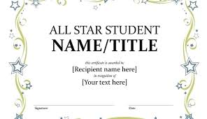Free Award Certificate Templates For Students Star Student Of The Week Template Certificate Free Best Photos