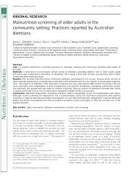 pdf malnutrition screening of older s in the munity setting practices reported by australian ians