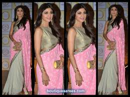 Manish Malhotra Designer Blouse Collection Shilpa Shetty Manish Malhotra Half And Half Saree