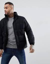 schott nyc men s nebraska heavy puffer jacket concealed hood in black