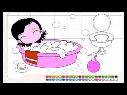bath coloring cartoon girl takes shower painting for kids