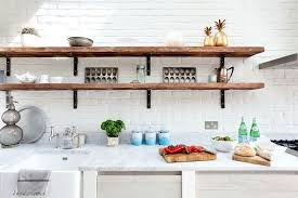 distressed wood shelves kitchen farmhouse with wooden open shelving white she