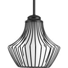 progress lighting finn collection 1 light black pendant with etched white glass