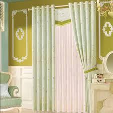 Light Green Star Patterns Rustic Living Room Curtains