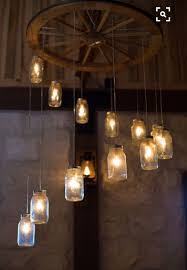 wagon wheel mason jar chandelier