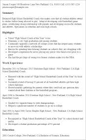 High School Resume Template Simple Professional High School Basketball Coach Templates To Showcase Your