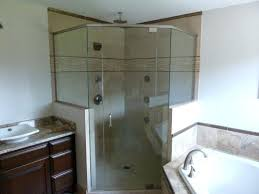 showers shower half glass wall services angle w 2 walls 3 8 inch clear brushed