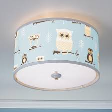 baby nursery decor blue lamp shades owl addition