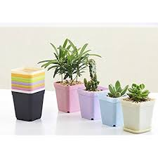 COOLWILL Square Plastic Flower Pots Colorful Succulents Pots with Tray  Lightweight Home Office Garden Decoration Set of 7 (7 7 8cm)