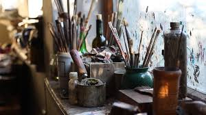 art concept the tools of an artist old brushes oil paints painting solvents and varnishes stock footage blocks