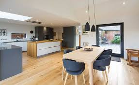 kitchen diner lighting. Interesting Kitchen Kitchen Diner With Industrial Pendant Lights Over The Dining Table Dinner  Plan Living Ideas Throughout Kitchen Diner Lighting E