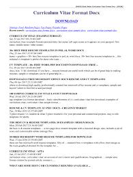Book Read Online Curriculum Vitae Format Docx Book Fill Online