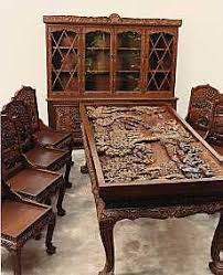 indian carved dining table. wood carving chairs | carved furniture indian dining table