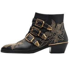 Designer Black Booties Themost Ankle Boots Womens Genunie Leather Rivet Studded Buckle Strap Designer Boot Low Heel Booties Black
