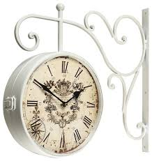 adeco white iron vintage double sided wall clock with scroll wall mount