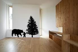 bear cub and pine tree wall decal