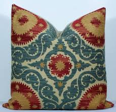 red and teal pillows. Modren Red Decorative Suzani Pillow Cover 20x20  Teal Blue Red Gold Tan  Chenille Throw Designer Cushion 4800 Via Etsy With Red And Teal Pillows