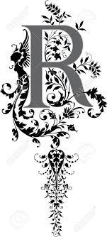 ファンタジーのスタイル英語のアルファベット手紙 Rグレースケール
