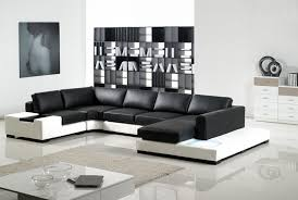 chic modern black leather sectional modern white and black leather