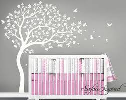 Nursery Wall Decals White Tree Wall Decal Large Tree wall decal Wall Mural  Stickers Nursery Tree