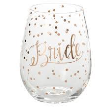 mary square polka dot bride stemless wine gl