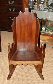 a late c18th patinated pine chair with ash rockers