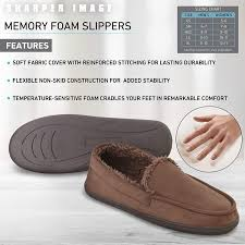 Sharper Image Comfort Memory Foam Moccasin Slippers With Faux Micro Suede And Faux Fur Sherpa Lining Unisex Style For Women And Men