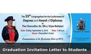 Graduation Invitation Letter To Students Kenya Science Campus