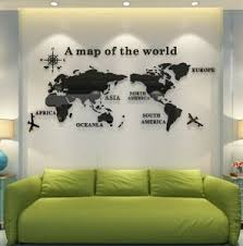 Fashion World Map Household Office Acrylic 3d Three Dimensional Wall Stickers Living Room Bedroom Decoration Es