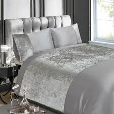 details about luxury crushed velvet panel duvet cover set single double king super king silver