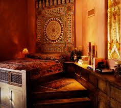 Moroccan Room Dcor for Terrace and Porch: Moroccan Room Decor Red Candles  Wooden Bed Frame Wooden Typical Ornament Simple Dimmer