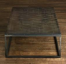 restoration hardware metal parquet coffee table image and description trunk