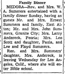 Eldora leaving for bible school in California. Dinner with family @ William  Summers home in Medora. - Newspapers.com