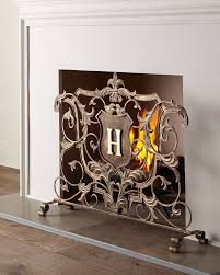 monogrammed fireplace screen gold neiman marcus