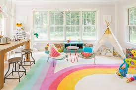 Interior Decoration:Kids Playroom Design With Long White Sofa And Colorful  Plaid Carpet Flooring And