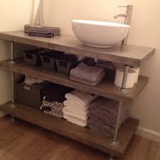Made To Order Bathroom Cabinets Open Concept Bathroom Vanity Rustic Industrial Style Butcher