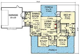 budget friendly 4 bed country farmhouse plan 52285wm